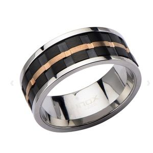 Silver Stainless Steel Ridged Stripe Spinner Ring
